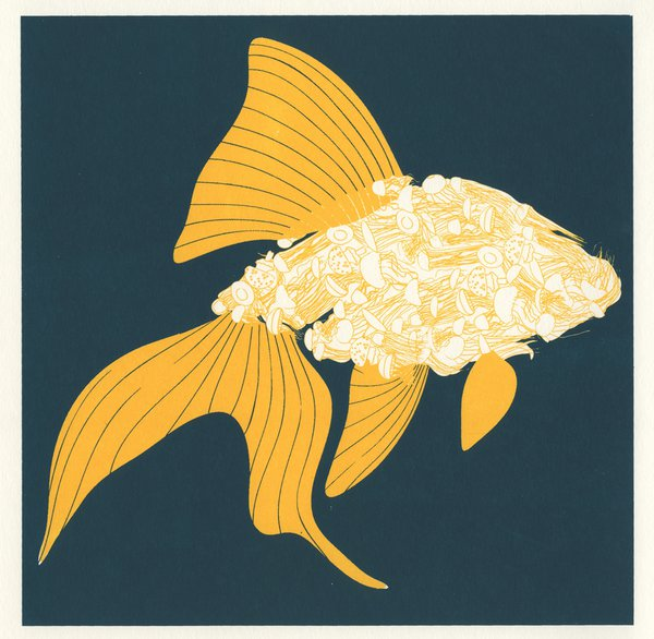 Golden fish screenprint